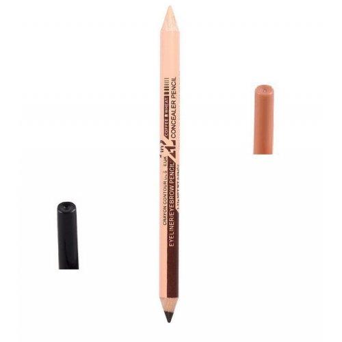 Двустранен молив със светъл коректор и очна линия