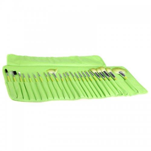 Зелен несесер с 24 четки за грим