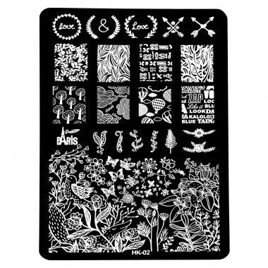 Голям правоъгълен печат - Флорални мотиви
