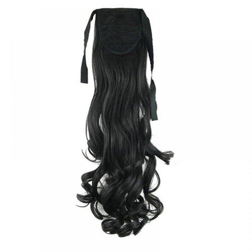 Чуплива опашка за коса с велкро лепенка - черно