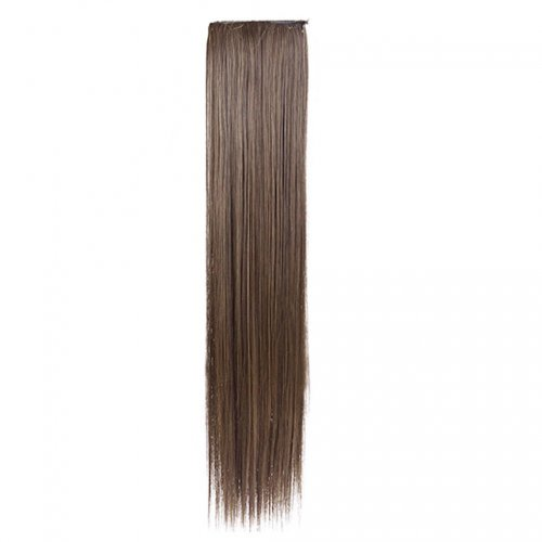 Изкуствена права коса - тъмно русо