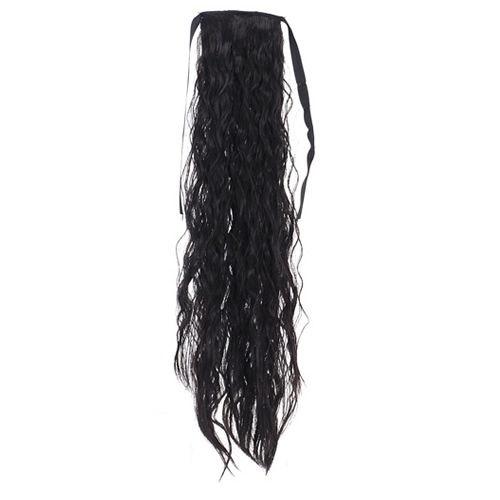 Опашка чуплив косъм с лента - черно