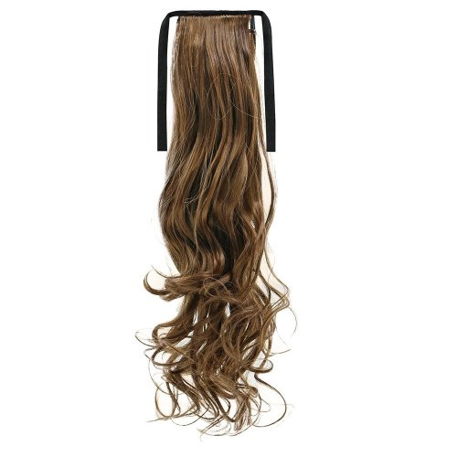 Опашка чуплив косъм с лента - светло кафяво