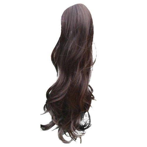 Опашка чуплив косъм с лента - тъмно кафяво