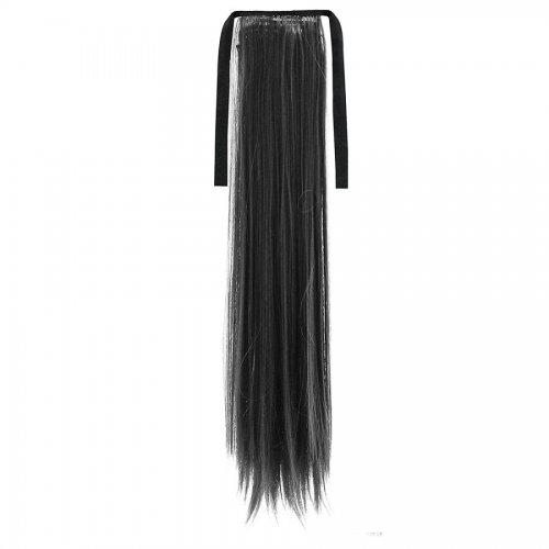 Опашка прав косъм с лента - черно