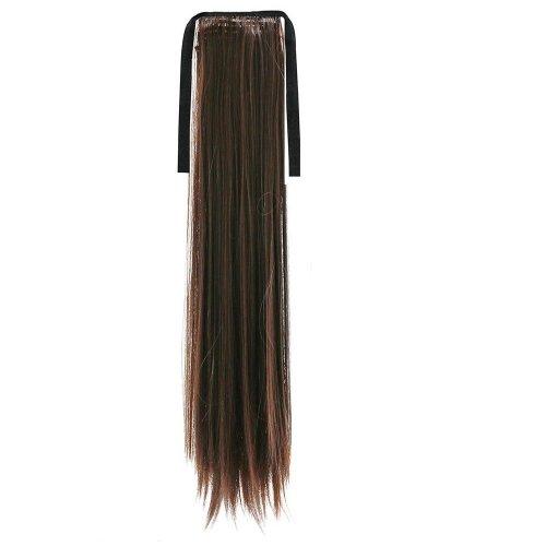 Опашка прав косъм с лента - тъмно кестеняво