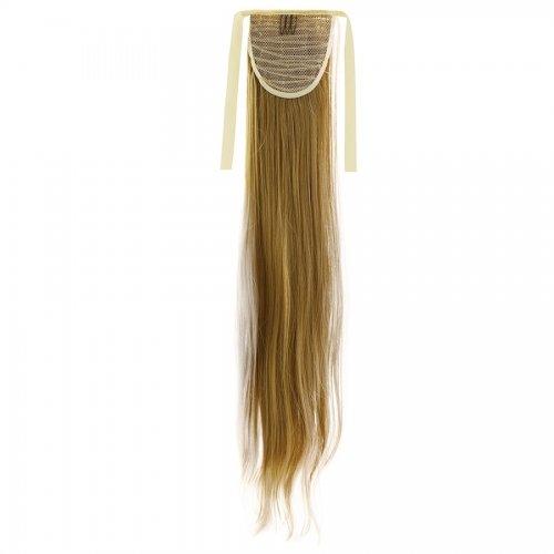 Опашка прав косъм с лента - тъмно русо