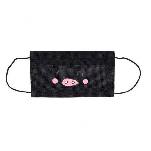 Черна антибактериална маска - розова муцуна