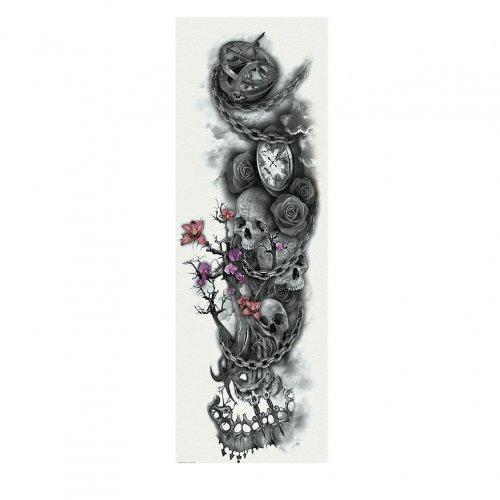 Временна татуировка цветя сред черепи