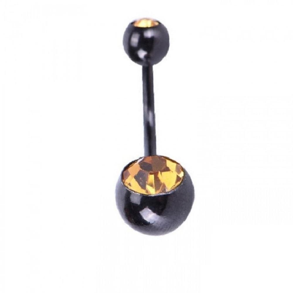 Черен пиърсинг за пъпа със жълти кристали