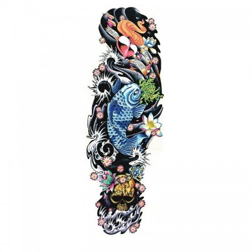 Временна татуировка синя риба