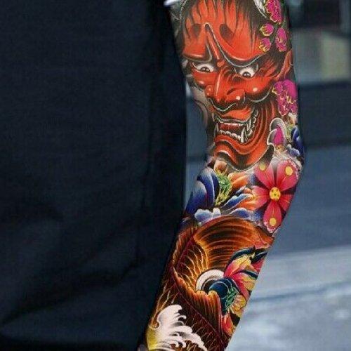 Временна татуировка цветя и демон