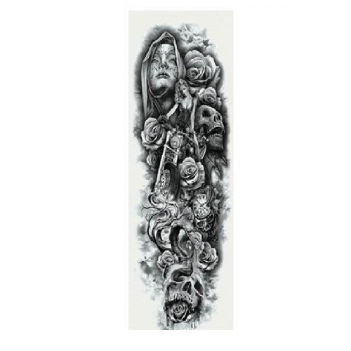 Временна татуировка с рози и черепи
