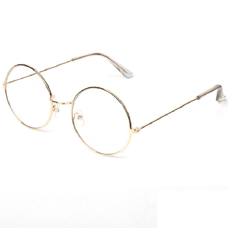 Кръгли жълти очила с прозрачни стъкла 5 сантиметра