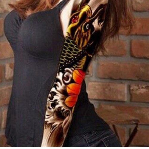 Временна татуировка риба и цвете