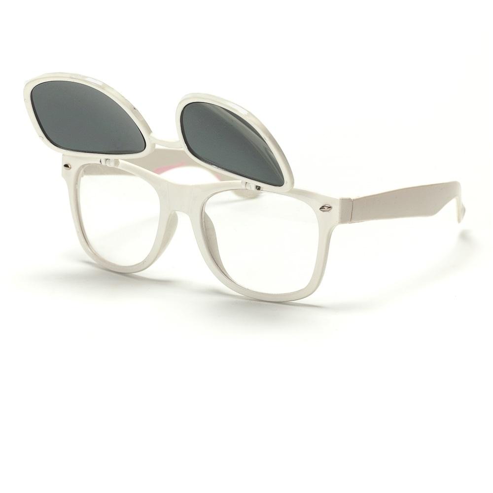 Слънчеви очила бели рамки с вдигаща се предна част