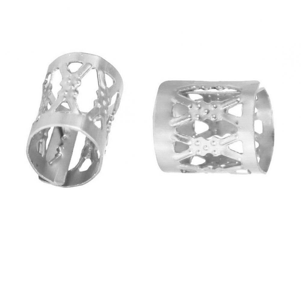 Бели пръстени за плитки с орнаменти