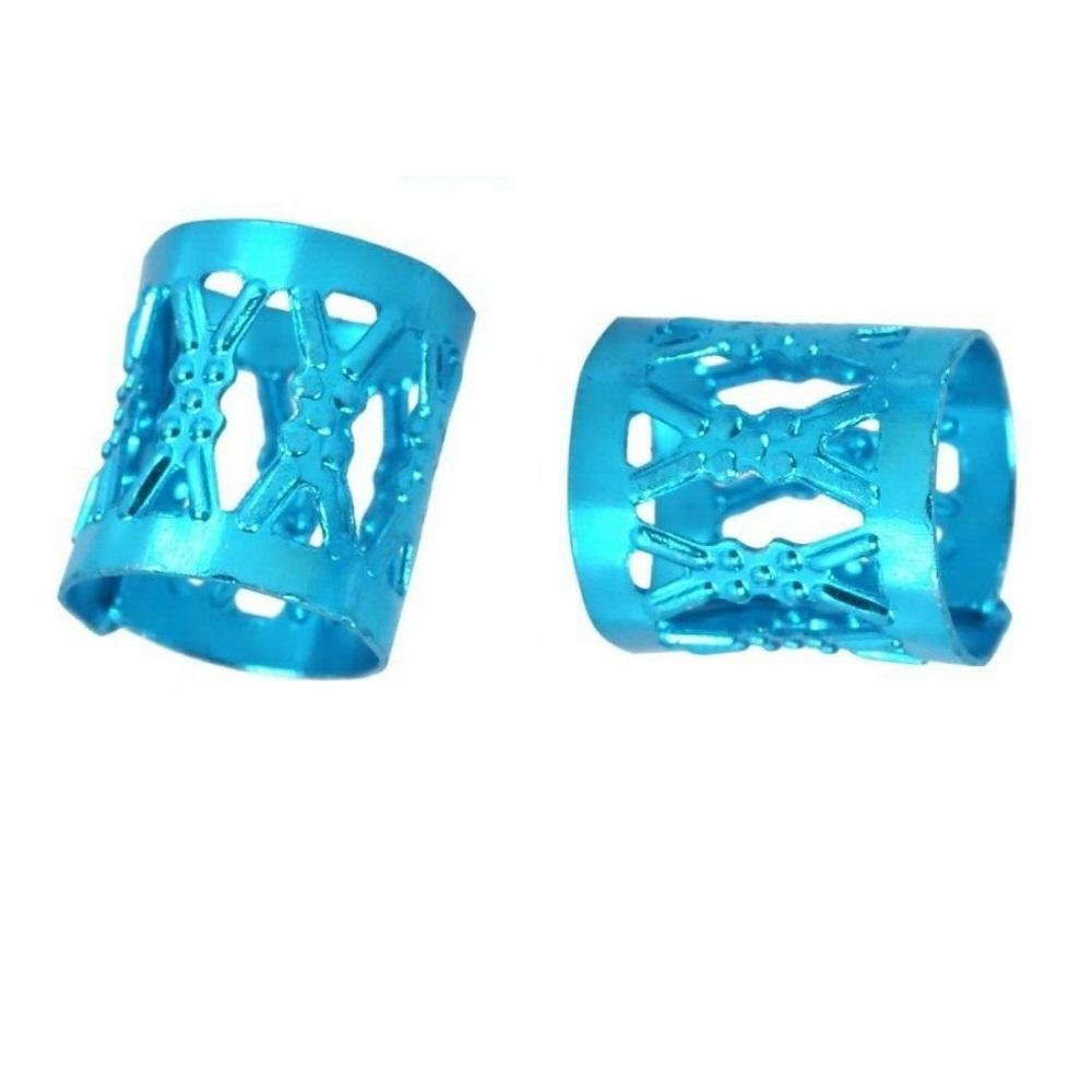 Сини пръстени за плитки 10 броя