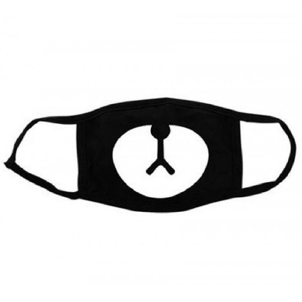 Черна маска за уста - човече на черен фон