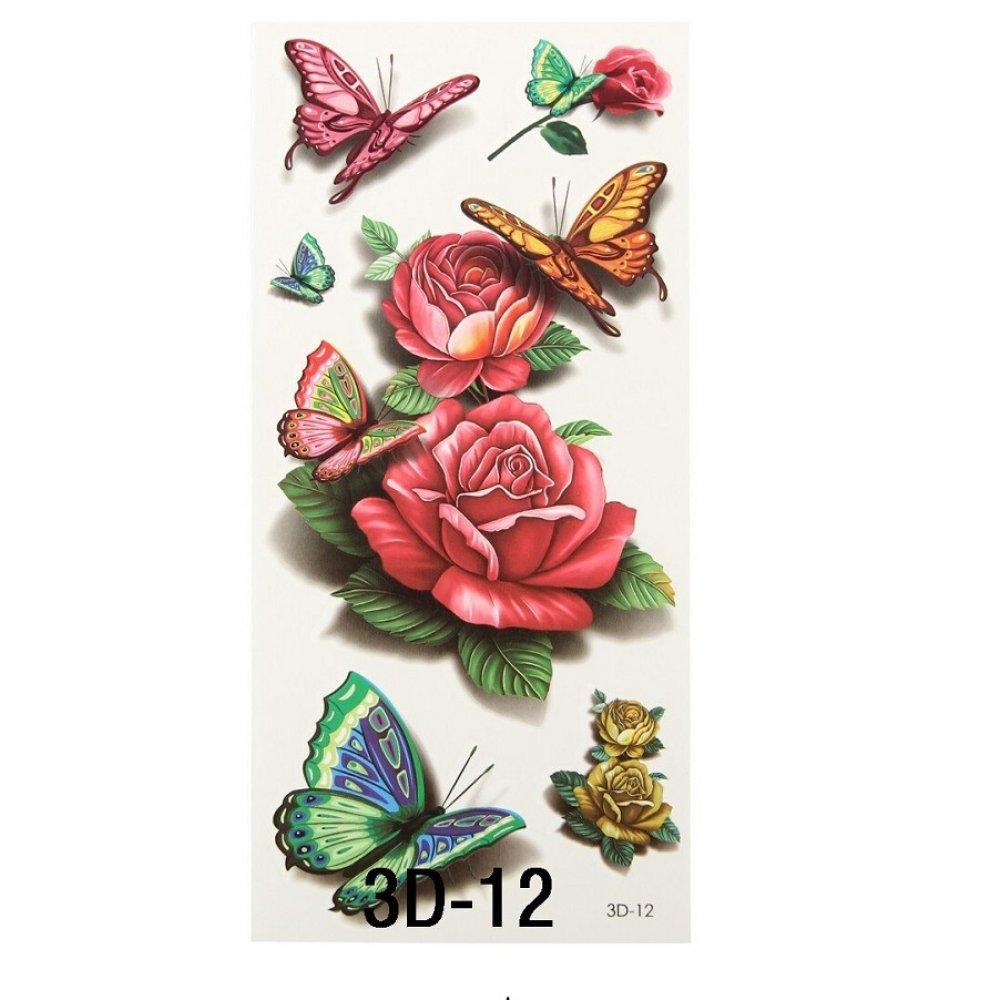 Голям размер временна татуировка с червени рози