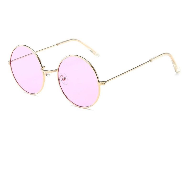 Кръгли очила жълта рамка лилави стъкла