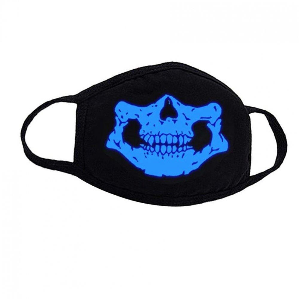 Маска със светеща светло син в тъмното череп