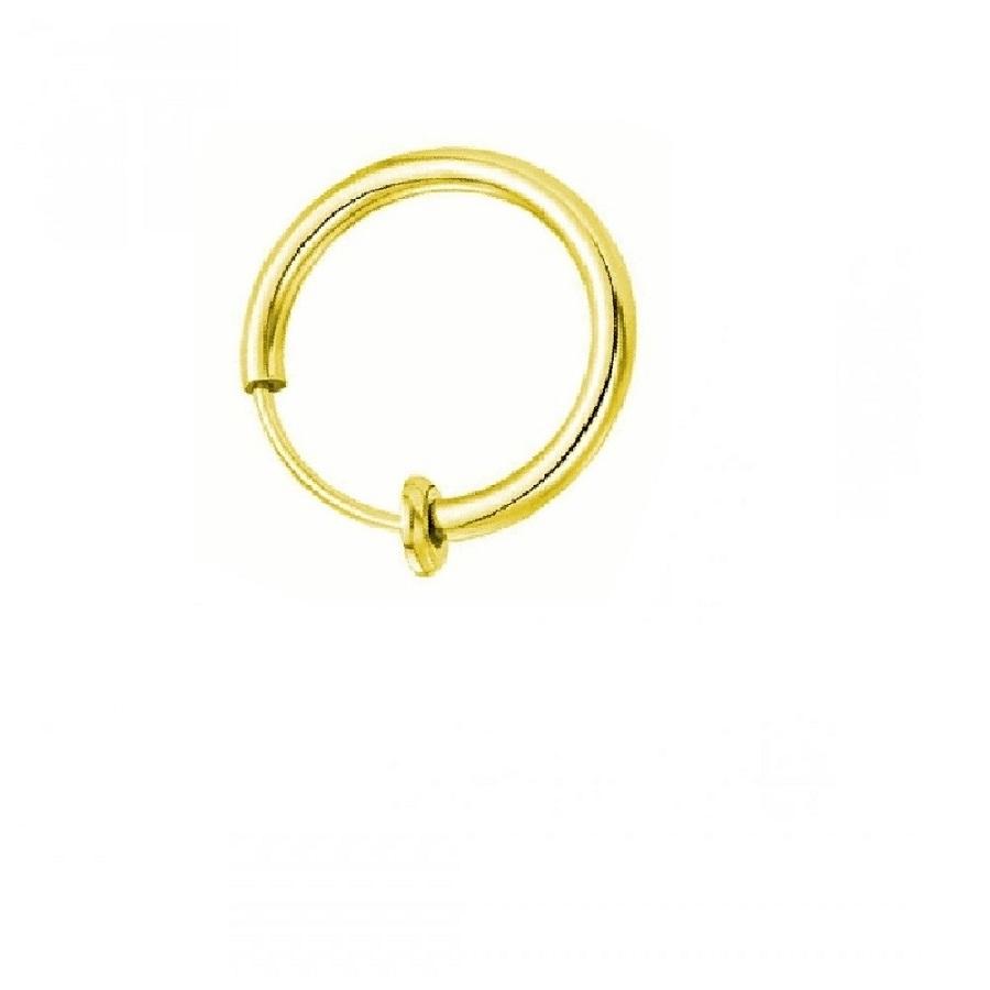 Халка за ухо без дупка жълто злато