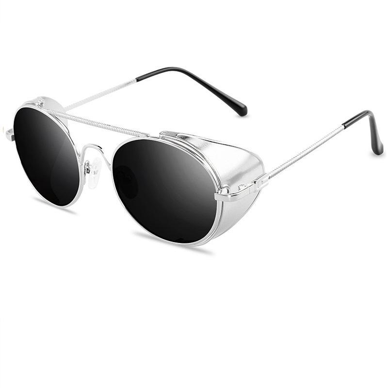 Сребърни пънк очила с черни стъкла