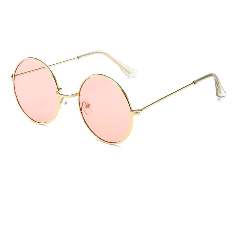 Кръгли очила жълти рамки розови стъкла