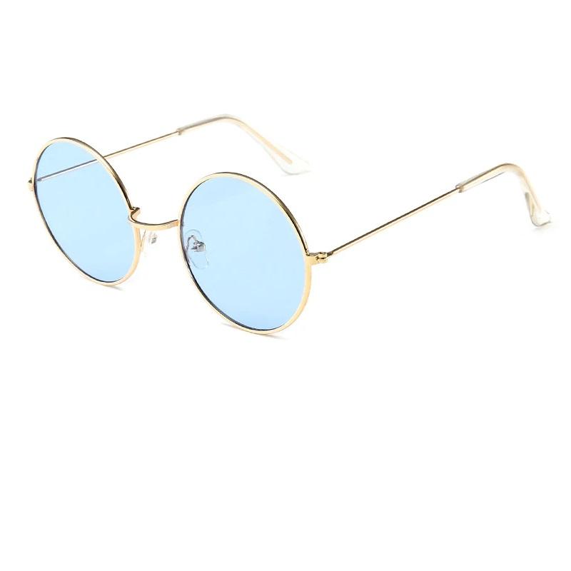 Кръгли очила жълти рамки светло сини стъкла