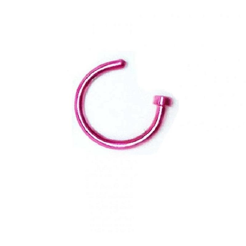 Розова стоманена халка за носа или устната