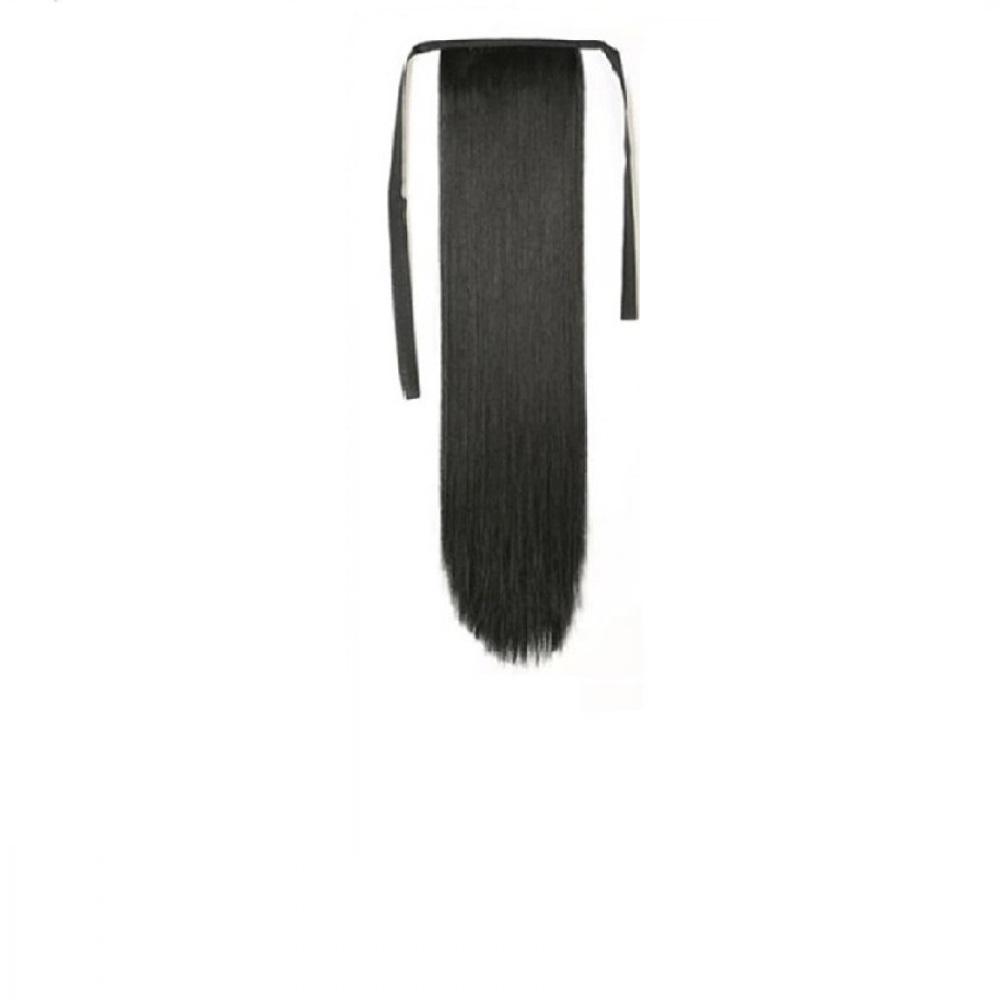 Изкуствена права коса - черно