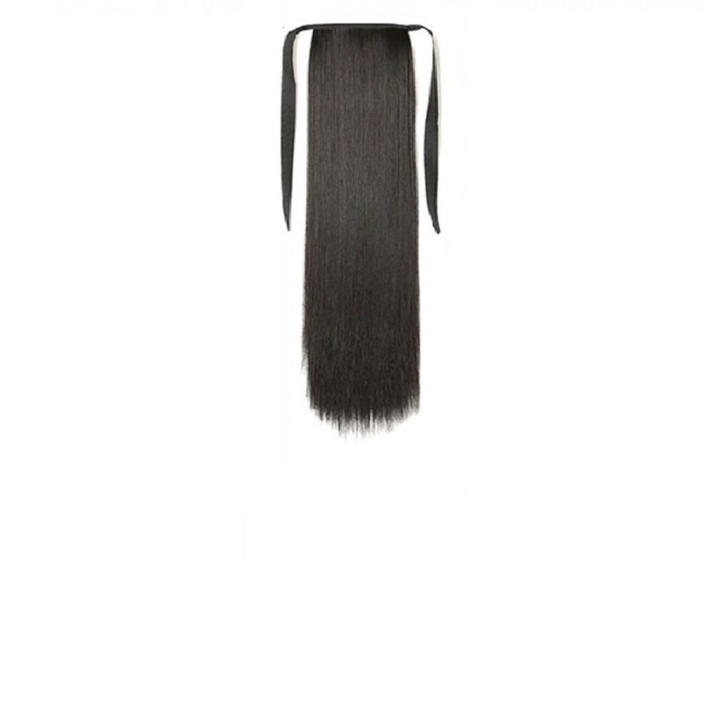 Изкуствена права коса с клипс и връзки 45 сантиметра