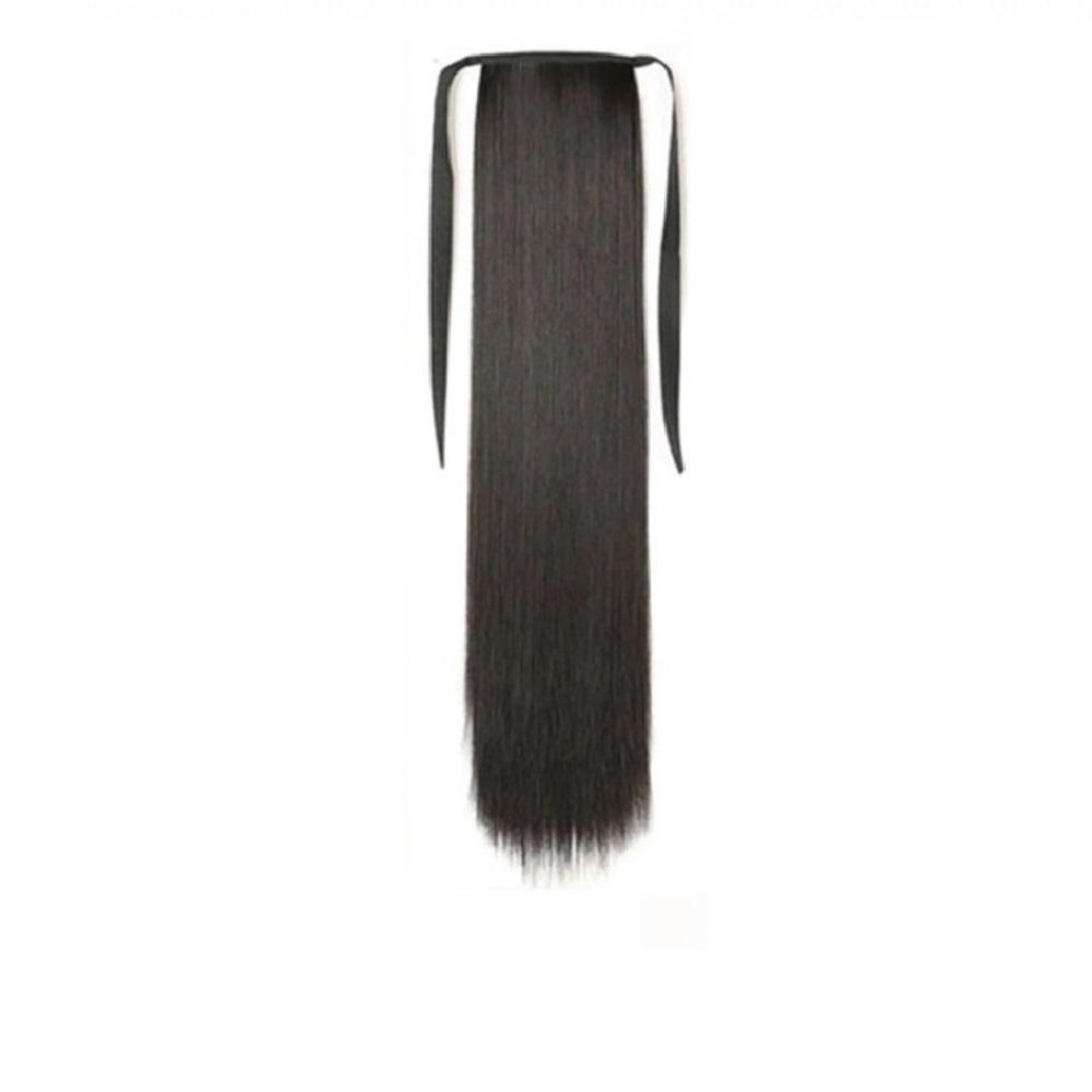 Изкуствена права коса - тъмен кестен