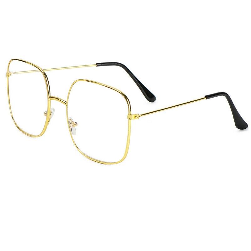 Очила без диоптър тънки жълти рамки