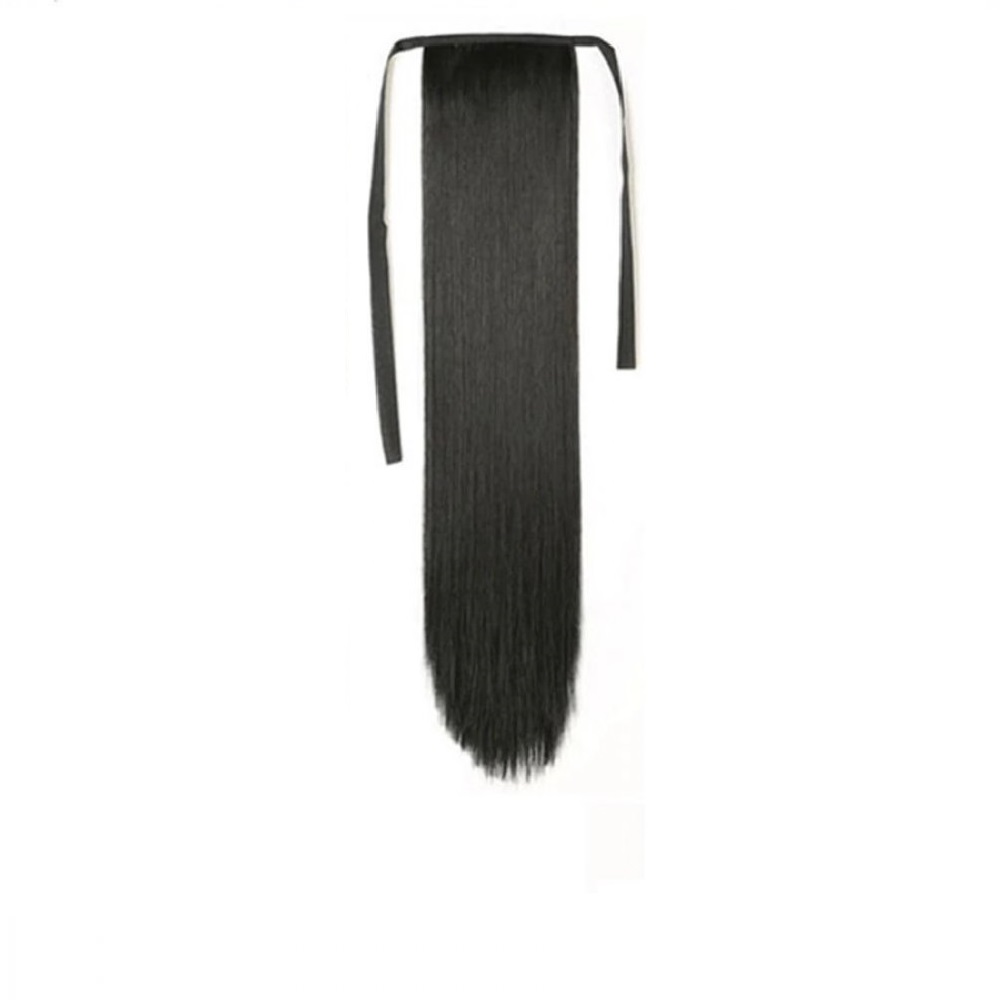 Опашка прав косъм с лента - черно 55 сантиметра