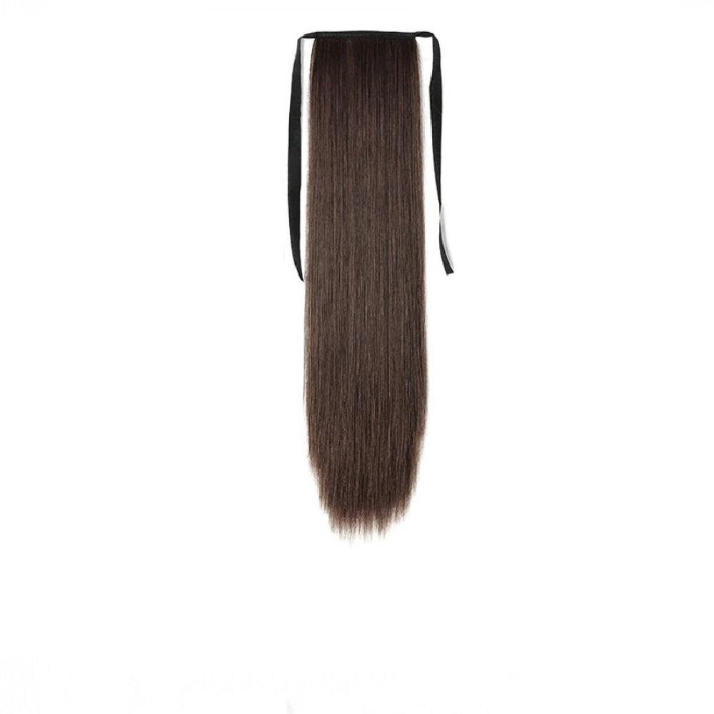 Опашка прав косъм с лента и клипс - кестеняво 55 сантиметра