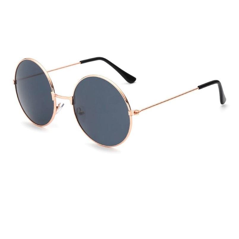 Кръгли очила черни стъкла жълти рамки