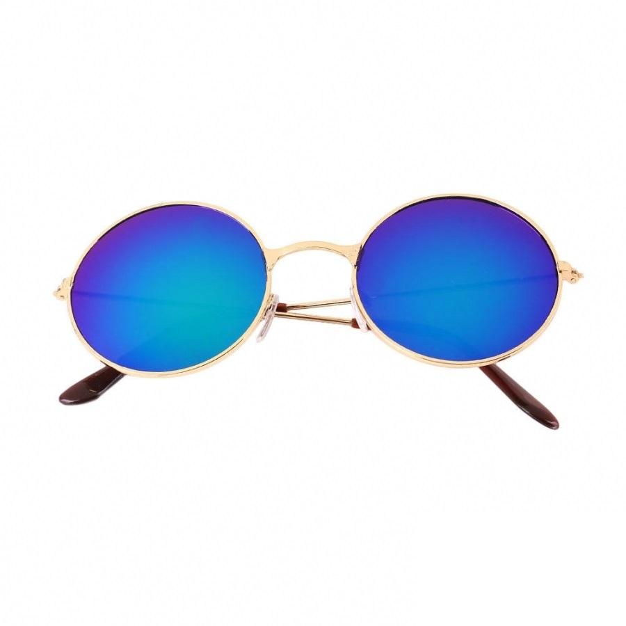 Кръгли очила сини стъкла жълти рамки
