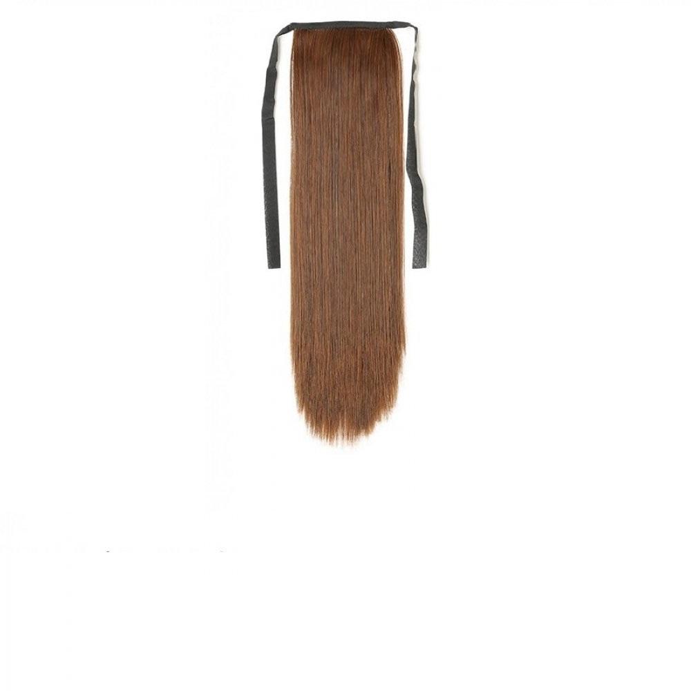 Изкуствена права коса - светъл кестен