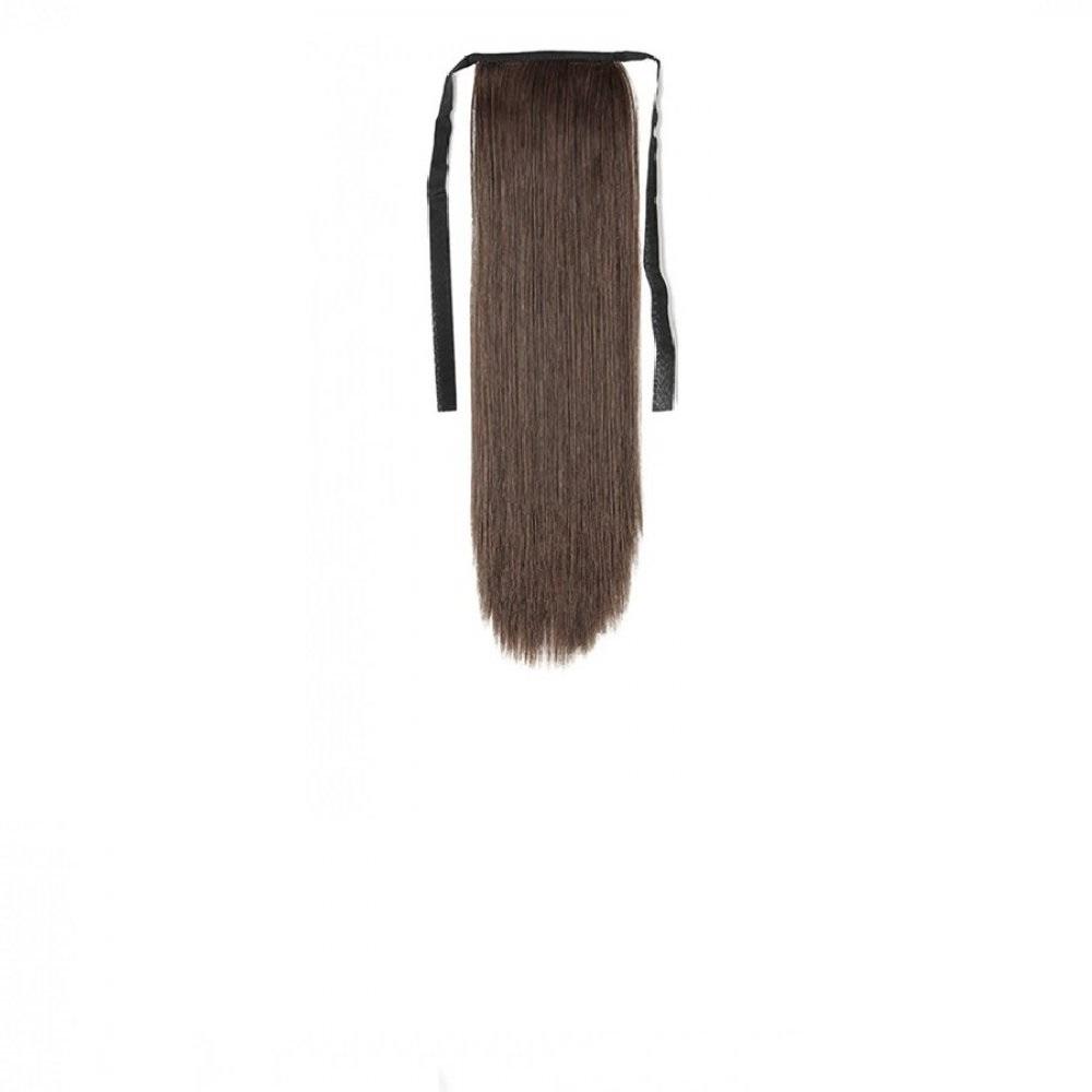 Хунска опашка с лента и клипс - кестеняво 45 сантиметра