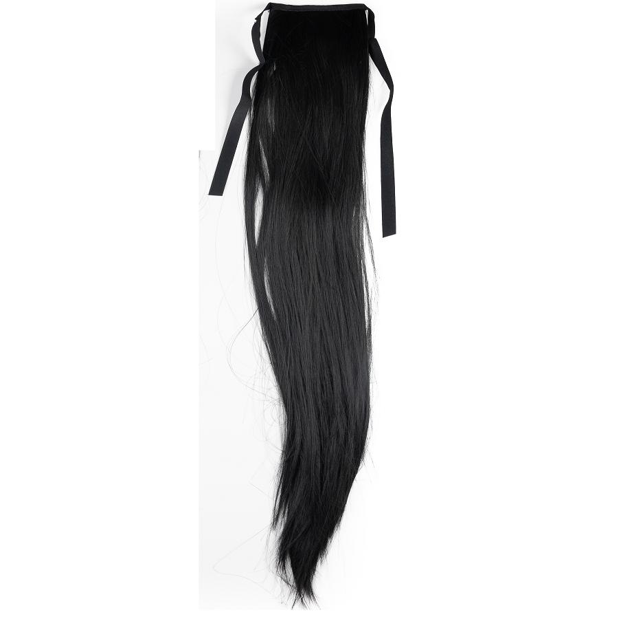 Чуплива опашка за коса с панделка - черно