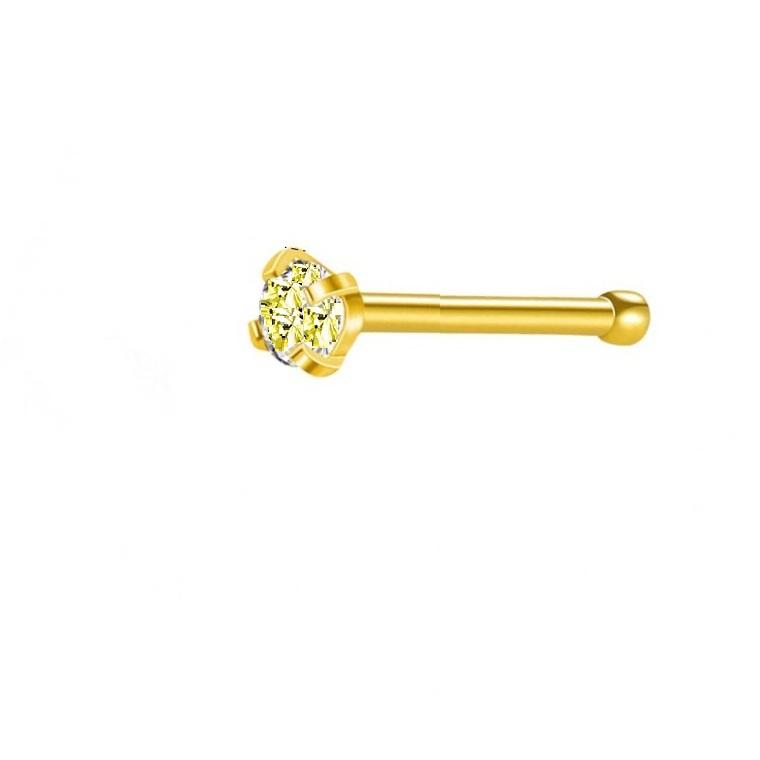 Жълта обица за нос медицинска стомана с кристал