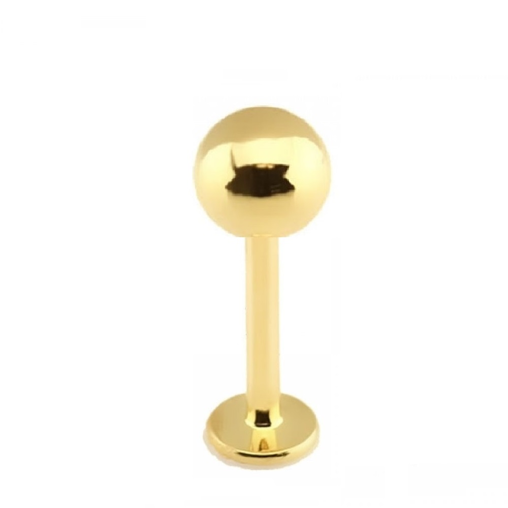 Къс златен лабрет за устна с голямо топче