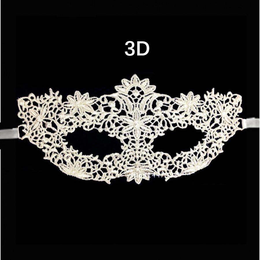 Бяла дантелена 3D маска