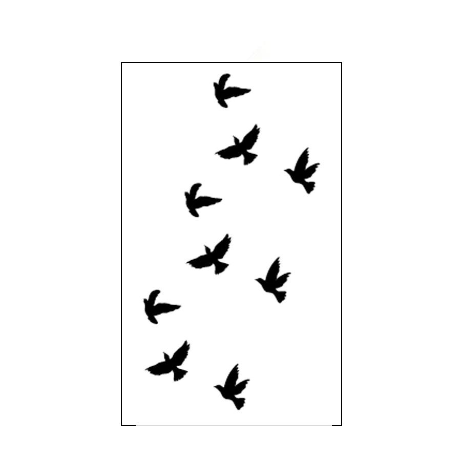 Дамска временна татуировка черни птици