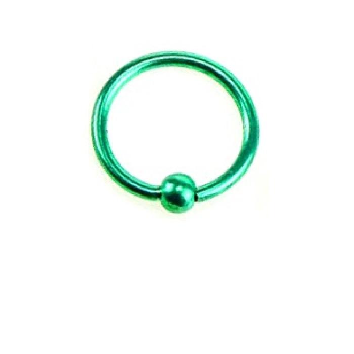 Стоманена антиалергична халка 10 милиметра зелен пиърсинг