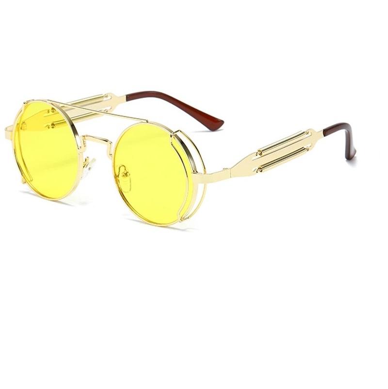 Унисекс кръгли жълти очила