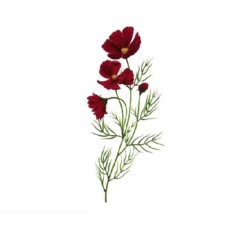 Временна татуировка с червени цветя