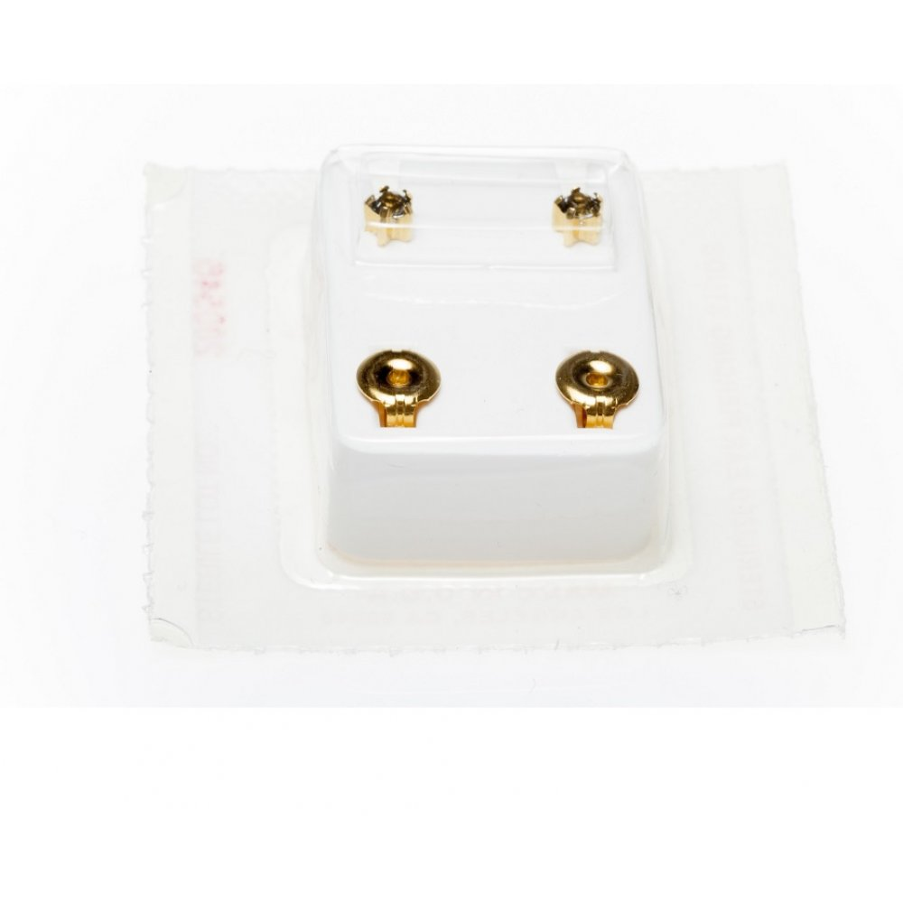 2 стерилни обеци с жълт камък